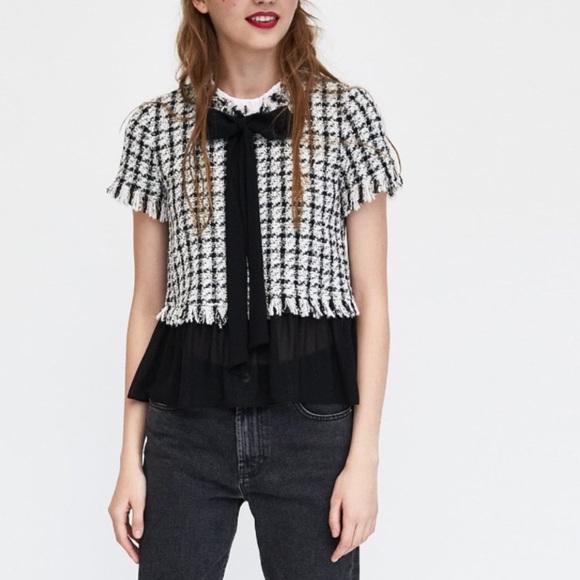 ae041c889e1ad ZARA Black   White Tweed Top Chanel style Blouse